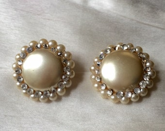 Vintage Faux Pearl and Clear Rhinestone Clip On Earrings