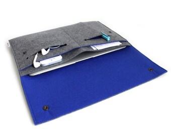 "New Macbook 12""/ Macbook Air 11 inch Case / Macbook Air 13 inch/ MacBookPro 13""/15"" Case- Case Organiser -Charcoal Grey & Royal Blue"