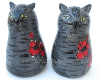 Cat Salt and Pepper Shakers  Grey Tabby Poppies