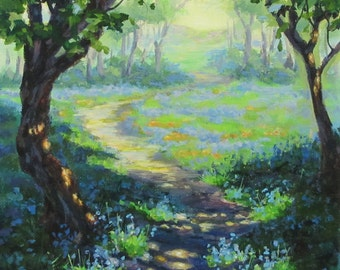 Bluebells and Sunshine - Small Original Fantasy Nature Paintings