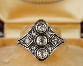Fabulous three stone Victorian diamond panel ring