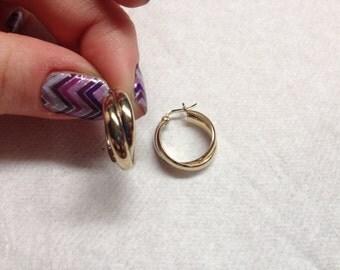 Vintage Goldtone 925 Sterling Silver Hoop Earrings
