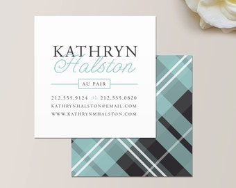 Plaid Square Business Card / Calling Card / Mommy Card / Contact Card - Interior Designer, Calling Cards, Modern Business Cards