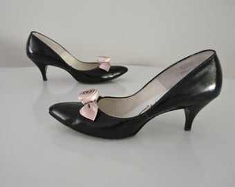 Vintage 1950s 50s Pumps with Satin Rosettes New Look Size 8