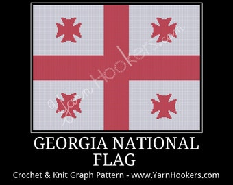 Georgia National Flag - Afghan Crochet Graph Pattern Chart - Instant Download