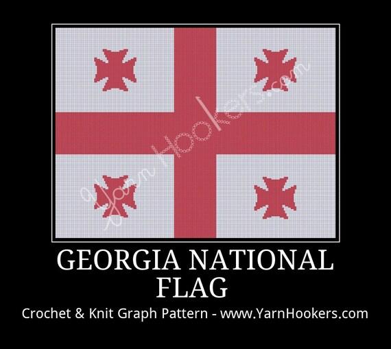 Georgia National Flag Afghan Crochet Graph Pattern Chart