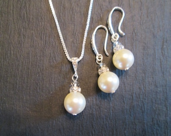 Swarovski Pearl Bridesmaid Jewelry/Pearl Jewelry Set/ Bridesmaid Jewelry/Pearl Earrings/ Pearl Necklace/Pearl Bridal Jewelry/Wedding Jewelry