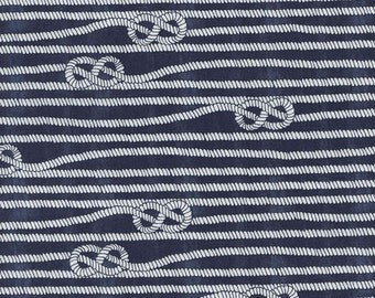 Timeless Treasures fabric Nautical ROPES on Navy