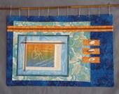 Beach Sunset Figural Paper and Fabric Art Original Print