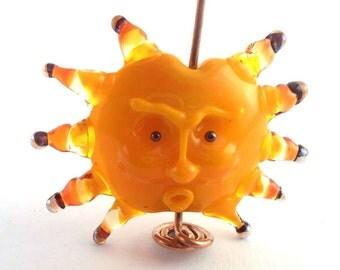 SRA artist Lampwork  sun pendant glass - S561