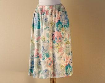 Floral jersey skirt
