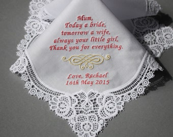 Wedding Handkerchief Embroidered to Mother of Bride Monogrammed Personalized Custom (#1607111)