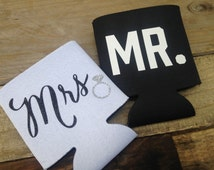 Mr. and Mrs. Can Cooler Set - Bride Groom Gift, Wedding Gift, Engagement Gift, Bridal Shower Gift, Wedding can coolers, His and Hers Drink