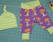 Organic Baby Newborn Baby Pants Knot Hat Set size 0-3 months Nosh Crocs