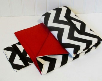 Chevron Changing Pad Clutch In Black and Red for Baby Boy