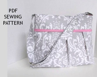 Pleated Diaper Bag Pattern Sewing PDF for Boy or Girl 6 Pockets Messenger Adjustable Strap Custom