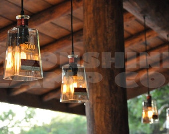 Recycled 1800 Tequila Bottle Pendant Lamp