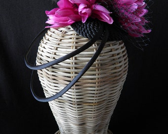 Vivien headpiece. Black and fuchsia fascinator.