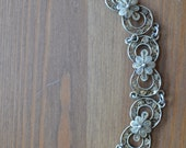 Amazing vintage antique victorian style coin silver filigree cannetille bracelet with flower design / UHEJCT