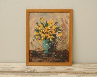 Original Floral Painting Black Eyed Susans Wood Frame RUSTIC