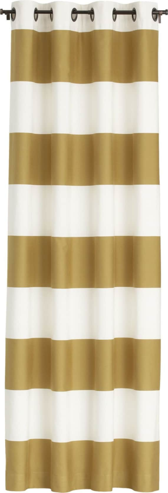 Gold And Soft Creamy White Horizontal Striped Curtain Panel