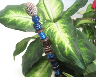 Blue Bead Plant Ornament, Indoor Garden Decor, Plant Decoration, Flower Pot Stake, Beaded Indoor Garden Art