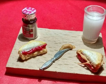 Miniature peanut butter and strawberry jelly