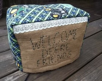John Deere Burlap Rustic Toaster Cover Lace Green Yellow Quilted Embroidered