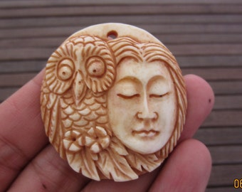Excellent Detail Carved Spirit of Owl And Lady pendant beads , Bone Carving, Jewelry making Supplies  B4198