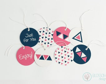 Set of 8 Gift Tags. Geometric Gift Tags. Triangle Pattern.