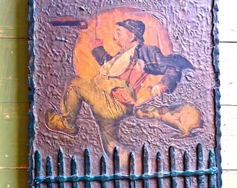 Vintage Norman Rockwell Wall Art Whimsical Clown Plaster on Wood, Raised Relief Hobo and Dog Americana