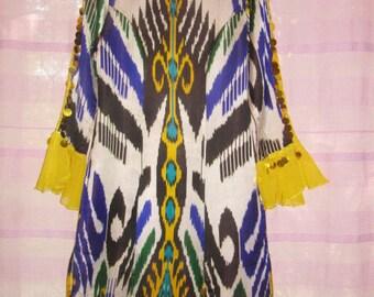 Vintage Uzbek Dress Ikat Han Atlas Dance Tunic