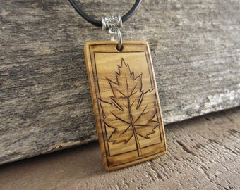 Maple Leaf Necklace, Rustic Jewelry On Leather Cord Necklace, Fall Maple Leaf Pendant