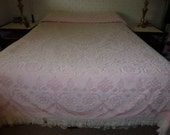 Vintage Full Size/Queen Size with a Bed Skirt  Pink and White Hobnail Chenille Bedspread Shown on a Queen Size Bed with Dust Ruffle.