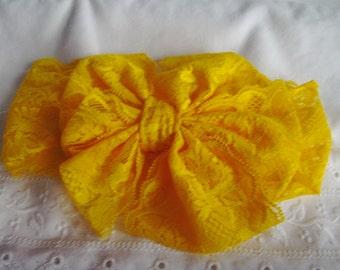Stretch Lace Headband - Yellow Lace Headband - Messy Bow Headband - Yellow Messy Bow Headband - Toddler/Teen Headband - Wide Lace Headband