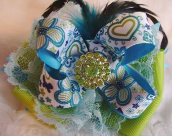 Ocean Colored Twisted Boutique Bow - Feathers & Lace Bow - Small Over the Top Bow - Blue and Green Princess Bow - Layered Mixed Media Bow