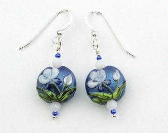 Blue with White and Green Flowers Flameworked Artist Glass Bead Sterling Earrings