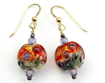 Red-Orange, Purple, Gold, Black, and Ivory Artist Lampworked Glass Bead Gold-Filled Earrings