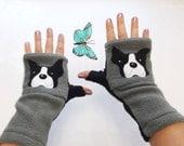 Boston Terrier Gift. Fingerless Gloves with Pockets for Dog Lovers