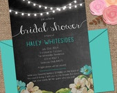 FAIRY Lights Bridal Shower Invitation / Chalk background / Invite Wedding or Shower DESIGN / DIY Printable or We Print for You
