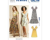 Kwik Sew 3675 - Women's Dresses - XS-S-M-L-XL - Pull over dresses with V neckline and Empire Waist - Sewing Pattern