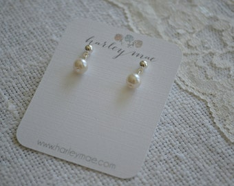Nellie: Small Single Ivory Pearl Drop on Post Earrings - 6mm - Silver or Gold