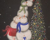 Christmas in July SALE Handpainted Snowman Wall Hanging, Snowman, Snowmen