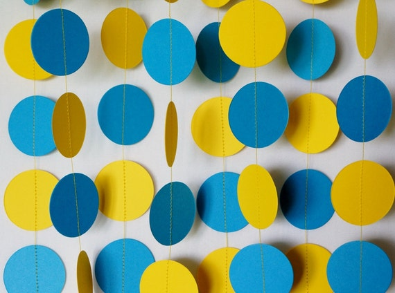 Blue And Yellow Garland Birthday Decorations Fathers Day