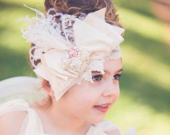 Vintage Lux Ivory Silk bow wedding Pink Handrolled Rosettes LACE Headband ostrich feathers, Pearls, crystals maternity