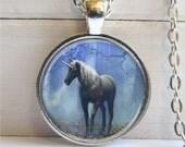 Unicorn Art Pendant, Fantasy Jewelry, Silver and Glass Dome Unicorn Charm