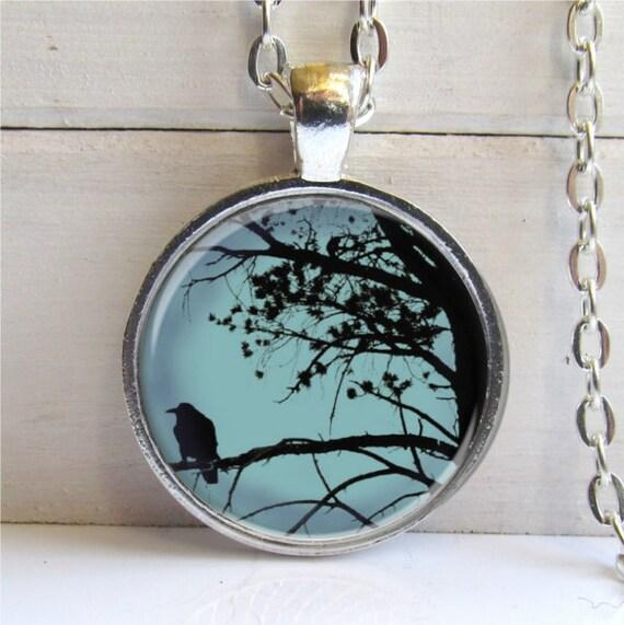 Raven In Tree Art Pendant, Photo Pendant, Raven Necklace