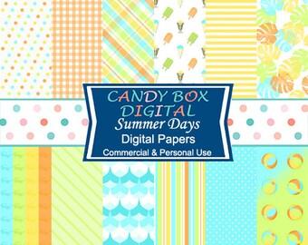 Retro Summer Digital Paper, Beach Paper - Commercial Use OK