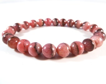 Rhodochrosite Stretch Bracelet 9mm Smooth Polished Pink Red Black Round Gemstone Bead