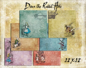 Digital Paper Pack Down the Rabbit Hole 12x12 Alice in Wonderland downloadable printables
